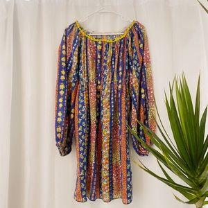Vintage 70s retro floral flower dress
